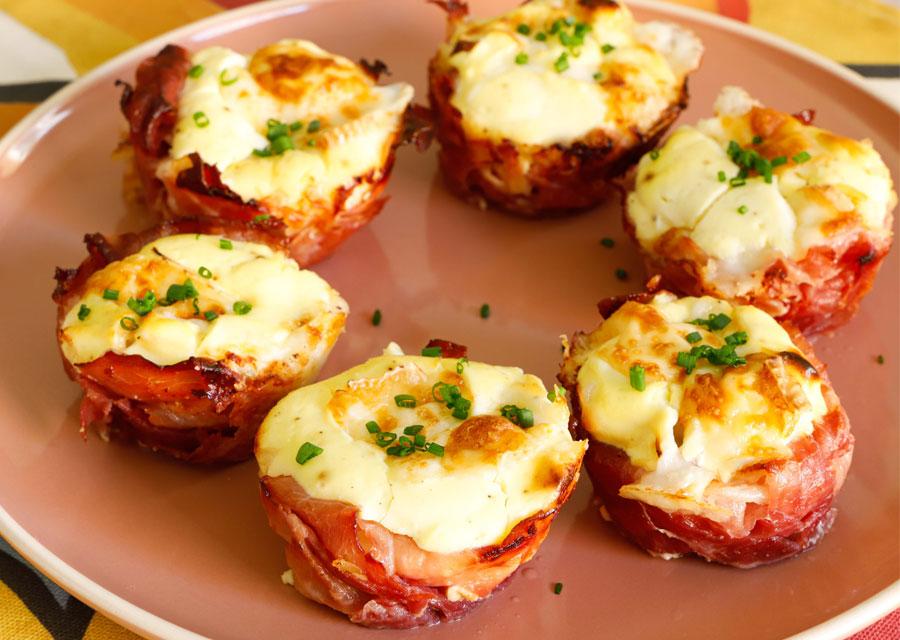 Cestini di formaggio Fiocco di neve Botalla e prosciutto